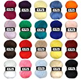 #6: Set of 20 Colorful Cotton Yarn for Crochet, Knitting, Cross Stitch & Needlepoint Hand Embroidery (Assorted Colors) By Kurtzy