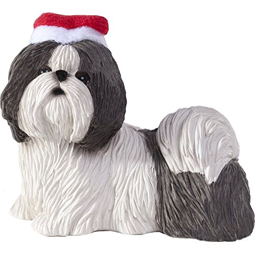 verzierung Shih Tzu Silber und Weiß mit Sankt-Hut Weihnachtsverzierung (XS016410) Sandicast Ornament Shih Tzu Silver and White with Santa Hat Christmas Ornament (XS016410) (Silber Santa Hüte)