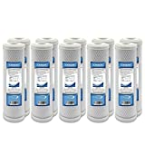 10 Pack Express Water 10' Carbon Block Coconut Shell Filter Cartridge, 9.78' x 2.5', 5 Micron