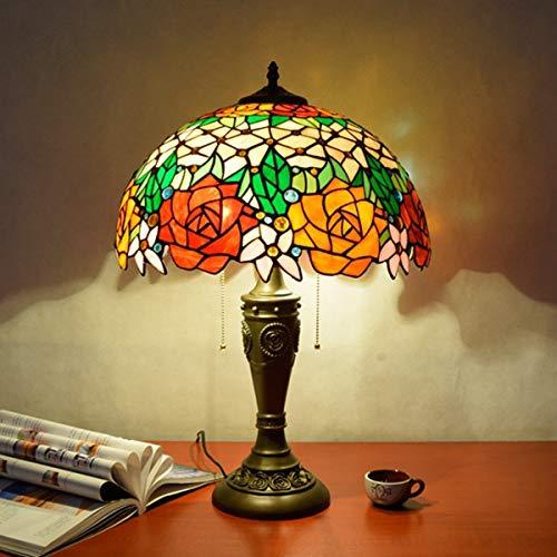 GYLTFL Tiffany Tischlampe,16 Zoll Vintage Tiffany Glasmalerei Lampe, Rose Art Glas Lampe für Wohnzimmer, Schlafzimmer, Studie - Tiffany-art-glas-tisch-lampe