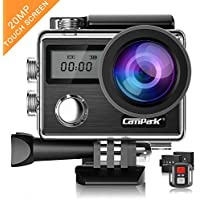 Campark Action Cam X20 HD 20MP 4K WIFI Action Camera Touch Screen Macchina Fotografica Subacquea 30M con Custodia Impermeabile, Doppio Schermo LCD, Remote Control, EIS e Kit Accessori