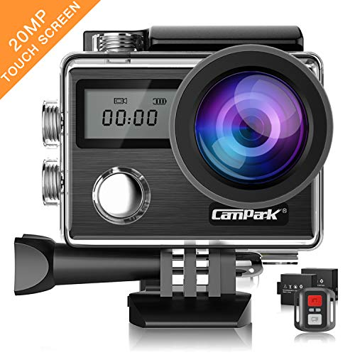 Campark Action Cam X20 HD 20MP 4K WiFi Touch Screen Macchina Fotografica Subacquea 30M con Custodia Impermeabile, Doppio Schermo LCD, Remote Control, EIS e Kit Accessori