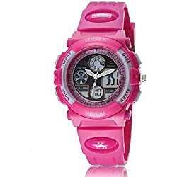 Uhr Armbanduhr Herrenuhr Damenuhr Quartz für Kinder Mädchen-Analog Nadeln Digital LCD-Display-Zifferblatt Rosa Rot-Silikon Band Rosa Rot-Datum Tag Alarm