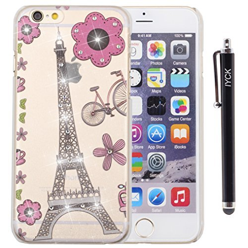 iPhone 6Plus Case, iPhone 6S Plus Fall, iyck Kristall Diamant Strass Hard Kunststoff Gummi Snap auf Shell Haut Fall zurück Cover für Apple iPhone 6/6S Plus (5,5)-Cute Cartoon Eiffelturm -