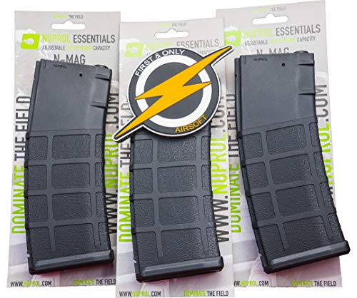 Oferta Nuprol N-mag Mid-Cap Airsoft 30/125 Round M4 3 Magazine - Negro y Parche de First and Only Retail