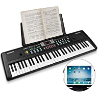 WOSTOO Electronic Keyboard Piano 61 Key, Portable Piano Keyboard with Music Stand, Microphone, Power Supply Digital Music Piano Keyboard for Kids/Adult