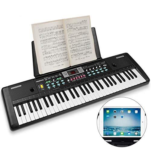 WOSTOO Keyboard, Multifunktions Digital Piano 61 Tasten Keyboard Set mit Mikrofon Notenständer Netzteil Für Kinder Geschenk,ideal für Kinder und Einsteiger,umfangreiche Lernfunktion