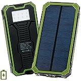 Cargador Solar de 15000mAh,Levin con 8 LED Luz Lámpara,Batería Solar Externa Portátil,Solar Charger Panel Power Bank para Iphone,Móvil(Verde)