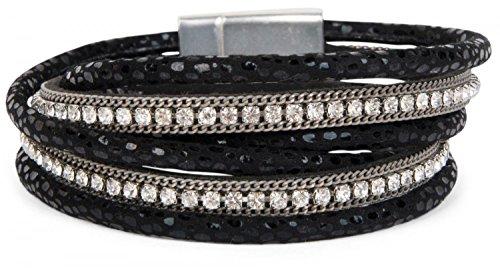 styleBREAKER Wickelarmband mit eingefassten Strasssteinen, Leo Muster und Ketten, Armband, Damen 05040028, Farbe:Schwarz