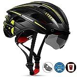 KINGLEAD Bike Helm mit Sicherheit Licht und Shield Visier, CE Zertifiziert Unisex geschützt Fahrradhelm für Radfahren Außen Sport Sicherheit, Leichter Flip Verstellbar Fahrrad Helm (Grünes Titan)