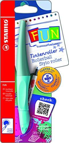 Ergonomischer Tintenroller - STABILO FUN in babyblau/eisblau - inklusive 2 Aufkleberkarten zum Sammeln - Schreibfarbe blau (löschbar)