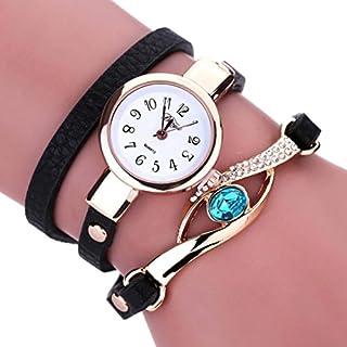 LSAltd Damen Art und Weisediamant-Verpackung um Uhr Lederoid Quarz Armbanduhr (Schwarz)