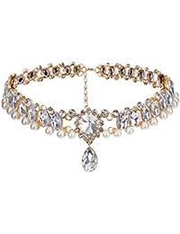 collares mujer joven,Webla Las mujeres de aleación de cristal de perlas de diamantes de imitación collar de cadena Collar Collar colgante de lágrima