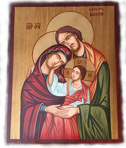 Pintado a mano más alta calidad, único y hermoso ortodoxo icono de la Sagrada Familia-Virgen María, niño Jesús Cristo, St. Joseph