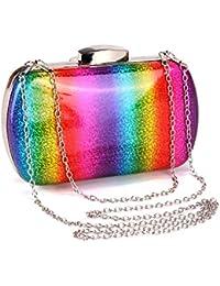 MANUKA Bolso de embrague para mujer, Bolso de cadena Crossbody Bolso de gradiente de arco iris Bolsos de hombro para mujer, Bolso Bling para fiesta de noche Boda