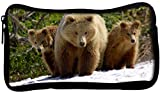 Snoogg Three Bears Poly Canvas Student Pen Pencil Case Coin Purse Utility Pouch Cosmetic Makeup Bag