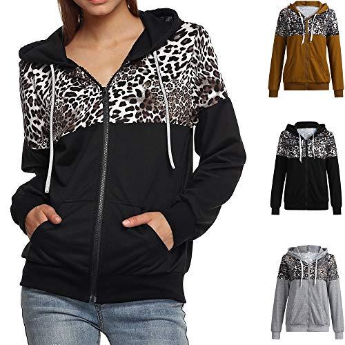 MEIbax Moda mujer abrigos y tops calientes Chaqueta con Estampado de Leopardo de otoño Invierno para Mujer Abrigo de suéter con Capucha Sudadera con Capucha