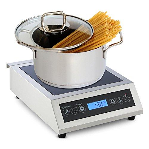Klarstein Induuk Plaque de cuisson à induction professionnelle (minuterie incluse, système de verrouillage, acier inoxydable, de 500 à 3500 W, entre 60°C et 240°C)