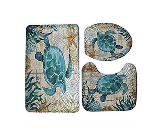 Set di 3 pezzi, copriwater, tappeto per base del lavandino e tappeto da bagno, morbidi e lavabili tartaruga 45 * 75 cm + 35 * 45 cm + 45 * 37,5 cm
