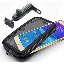 iBroz® - Soporte Moto universal, Escúter (Scooter) etc... o Biclicleta en retrovisor o fijación manillar con Varilla Rígida (rotación 360°) y Funda hermética para iPhone 6, iPhone 6 Plus, SAMSUNG GALAXY Note 4, Note 3, S3, S4, HTC ONE, GOOGLE NEXUS 4, Nokia LUMIA y Sony XPeria Z.. (anchura Máx : 9 cm - Altura: 15,8 cm)