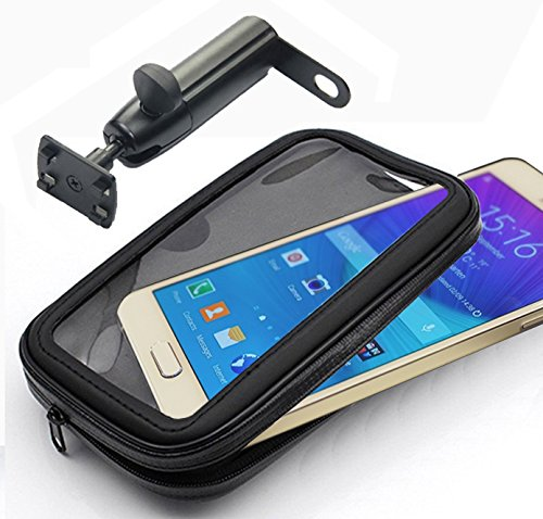 Ibroz® universale dispositivo supporto per moto, Tmax (o altri) scooter o bicicletta (per essere montato su manubrio) con custodia impermeabile per Apple iPhone 6, iPhone 6Plus, Samsung Galaxy Note 4, Note 3, S3, S4, HTC One, Google Nexus 4.5, Nokia Lumia, Sony Xperia Z, etc. (larghezza massima: 9cm, altezza: 15.5cm), black, xl