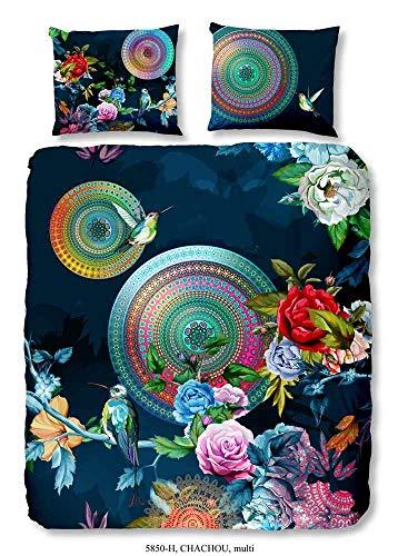 Hip Bettwäsche 5850 Chachou Bunt Mandala Blumen Kolibri Satin, Größe:200x200 cm + 2 x 80x80 cm