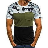 Ronamick - Camiseta para hombre, diseño de camuflaje, con bolsillo, cuello redondo, manga corta, cómoda, transpirable, blusa