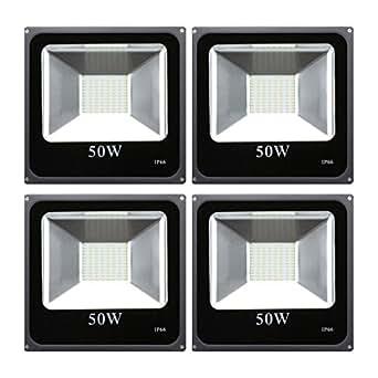Excelvan Lot de 4 Projecteur LED 50W SMD5730 4200LM 2800-3200K Etanche IP66 Blanc chaud [Classe Energétique A +]