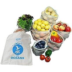 7er Set Obst- und Gemüsebeutel aus 100% Bio Baumwolle Wiederverwendbare Einkaufsnetz für den plastikfreien Einkauf, Zero waste – 7er Set 1S, 2M, 2L,1XL, Inkl. Stoffbeutel mit Saisonkalender