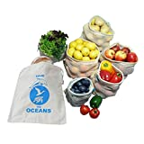 OzeanKonzept 7er Set Obst- und Gemüsebeutel aus Bio-Baumwolle Wiederverwendbare Einkaufsnetz für den...