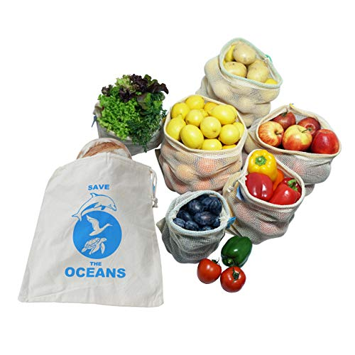 OzeanKonzept 7er Set Obst- und Gemüsebeutel aus Bio-Baumwolle Wiederverwendbare Einkaufsnetz für den plastikfreien Einkauf, Zero Waste - 7er Set 1S, 2M, 2L,1XL, Inkl. Stoffbeutel mit Saisonkalender -