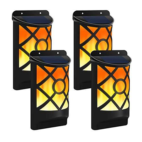 DOOK Solarleuchte Außen 66 LED Solar Gartenleuchten mit Flackernden Flammen Wirkung, IP65 Wasserdicht Flammenlampe Nachtlicht für Garten, Bäume, Party Dekoration,4pack