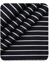 d8827d112 Monza Men s Dark Blue 100% Giza Cotton White Stripes Shirt Fabric (1.60 M)