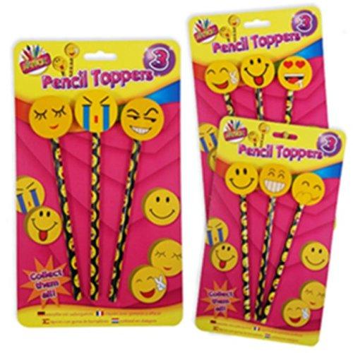 Confezione Da 3 Facce Sorridenti Emoticons Viso Matite & Toppers (Eraser Di Matita)