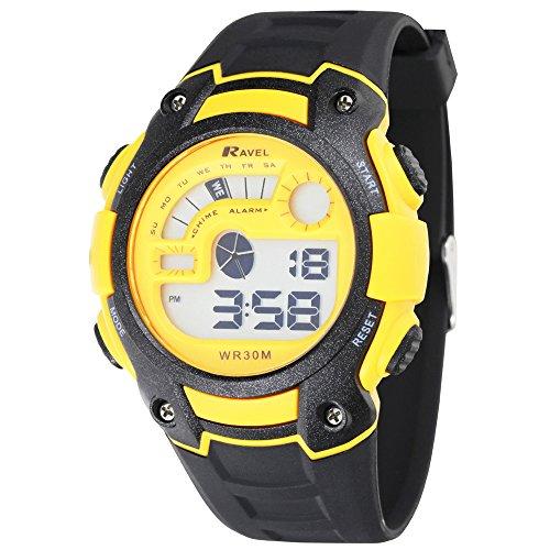 Ravel LCD Digital acqua-Orologio da uomo con Display digitale e cinturino in plastica, colore: nero-Supporto