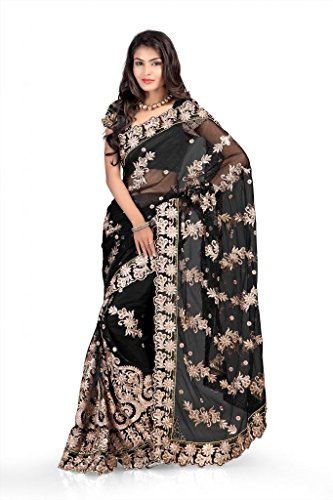 Chirag Sarees Net Lace Saree (Black) -183-B