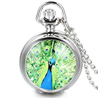 AOOPOO Beautiful Peacock Open Tail Quartz Pocket Watch Necklace with Arabic Numerals Silver for Girls Ladies Women