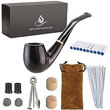 Joyoldelf De madera pipas para tabaco, Madera de peral con Limpiapipas, filtro para pipa 9 mm, 3 en 1 raspador, boquillas de pipa, bola de metal, aldaba de corcho, con un Franela bolso y Caja de regalo