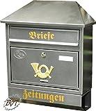 Großer Briefkasten, verzinkt mit Rostschutz W/si Walmdach silber massiver Edelstahl Look Zeitungsfach Zeitungsrolle Postkasten