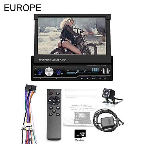 TOMATION 7-Zoll-Touch-Screen-Retractable Car Stereo Auto-DVD-Spieler, GPS Navigation Touch MP5/TF/SD/USB/Media Player Steering Wheel Control/FM/AM/RDS Tuner and HD Radio