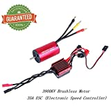 Crazepony-UK 2845 3900KV Brushless Motor Sensorless 3.175mm with 35A ESC Electronic Speed Controller Combo Set Splashproof for 1/12 1/14 1/16 1/18 RC Car Truck Running Off-Road Vehicle by