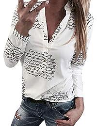 Innerternet Sexy Femme Chic T-Shirt Mode Chic Haut Dentelle Pois Manches  Longues à Col en O Blouse Bouton Tunique Chemisier… a8eecef144c
