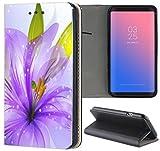 Samsung Galaxy S3 / S3 Neo Hülle Premium Smart Einseitig Flipcover Hülle Samsung S3 Neo Flip Case Handyhülle Samsung S3 Motiv (1127 Blume Lila Weiß Grün)