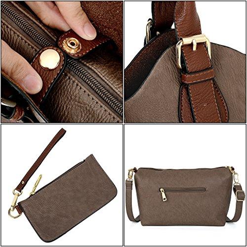 UTO Damen Handtasche Set 3 Stücke Tasche PU Leder Shopper klein Schultertasche Geldbörse Trageband blau Schlamm Farbe