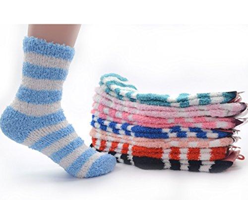 Zoylink 6 Paar PlüSch Socken Fuzzy Socken Mode Streifen Muster Baumwolle Winter Warme Socken FüR Frauen (Warm, Fuzzy Socken)