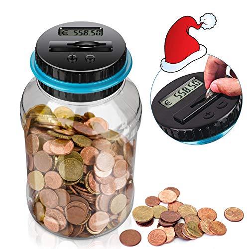 LarmTek Spardose Zähler Sparschwein mit LCD Anzeige,automatische Münzenzählglas Sparbüchse große Kapazität, digital Piggy Bank Kinder Freunde