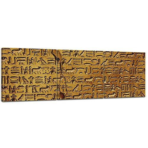 Kunstdruck - Hieroglyphen - Bild auf Leinwand - 120x40 cm dreiteilig - Leinwandbilder - Städte & Kulturen - Ägypten - alte Schriftkultur