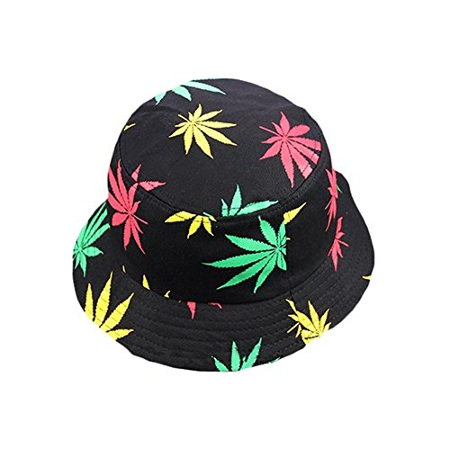 Drawihi Korean version of the new Maple Leaf Printed Cotton Hat Summer Maple Leaf Flat Top Bucket Hat,Cotton,56-58 cm