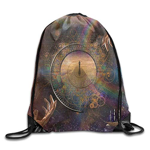 elzug, Sportrucksack, Reiserucksack, Double Exposure Outer Space Mixed with Earthly Symbolic Eternity Details Artsy Print Purple Tan Bags ()