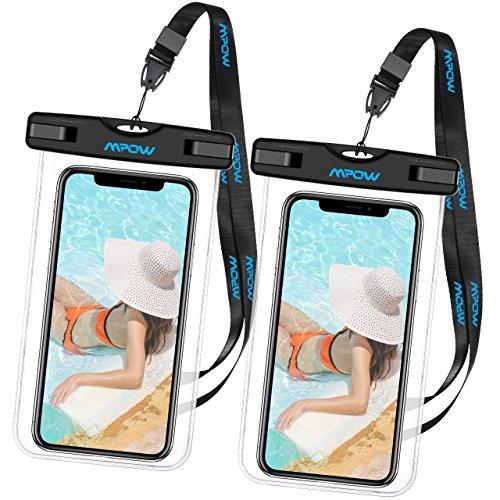 Mpow Wasserdichte Handy Hülle, 2 Stück Wasserdichte Hülle,Staubdichte,Stoßfeste, Schneeschutzanlage Wasserdichte Hülle für iPhone SE/6s/Plus/6/5s/5/5C,Galaxy S7,Huawei P8 usw bis zu 6 Zoll (Genießen Tasche)
